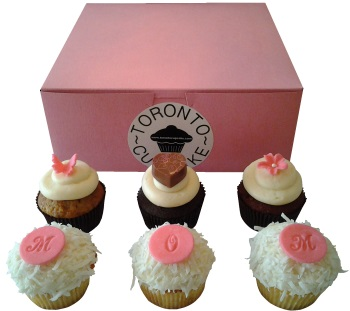 A half dozen Mother's Day cupcakes from Toronto Cupcakes